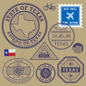 Stamp set with name and map of Texas, USA — Stock Vector