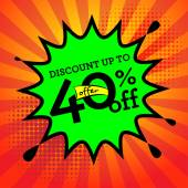Comic book explosion with text Discount up to 40 percent — Stockvektor
