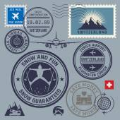 Switzerland theme stamps or labels set — Vetorial Stock