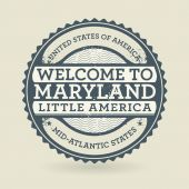 Grunge rubber stamp with text Welcome to Maryland, USA — Stok Vektör
