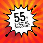 Explosion with text 55 percent, Special Discount — Stock Vector