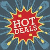 Comic explosion with text Hot Deals — Vettoriale Stock