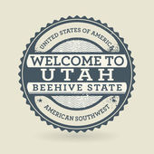 Grunge rubber stamp with text Welcome to Utah, USA — Stock Vector