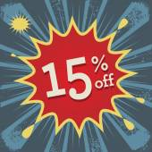 Comic explosion with text 15 percent off — Stockvektor