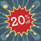 Comic explosion with text 20 percent off — Stockvektor