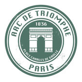 Stamp with text Arch of Triumph (in French), Paris — Stock Vector
