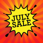 Comic explosion with text July Sale — Stock Vector
