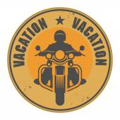 Stamp with Motorcycle and word Vacation written inside — Vector de stock