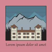 Vintage house label, vector — Stock Vector