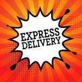 Comic explosion with text Express Delivery — Vetor de Stock