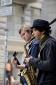 Musician plays Saxophone — Stock Photo