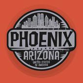 Stamp or label with name of Phoenix, Arizona — Stock Vector