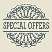Resumen sello o etiqueta con ofertas especiales de texto — Vector de stock