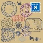 Vintage poster ensemble de timbres avec le nom de Louisiane, États-Unis — Vecteur #78582812
