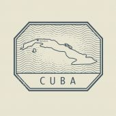 Stamp with the name and map of Cuba — Stock Vector