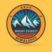 Stamp or label with the Mount Everest — Stock Vector