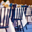 Blue wooden chairs — Stock Photo #66949759