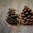 Two fir cones with wooden background — Stock Photo #69885095