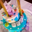 Christening cake with pink teddy bear — Stock Photo #69884953