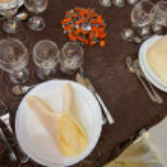Beautifully arranged wedding table — Stock Photo #70357843