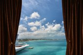 Window with curtain and drapery — Stock Photo