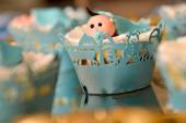 Christening blue decoration with baby boy — Stock Photo