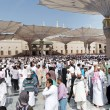 Muslims after Friday prayers  front of the Nabawi Mosque, Medina — Stock Photo #74926951