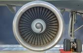 Close-up view of a Jet engine turbine — Stock Photo