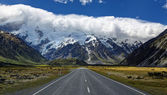Weg naar Mount Cook Village, New Zealand — Stockfoto