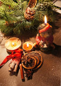 Beautiful Christmas wreath with candles — Zdjęcie stockowe
