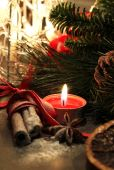 Beautiful Christmas wreath with candles — Stok fotoğraf