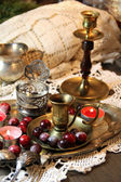 Mix of old silver and bronze dish and figurines  — Stock Photo