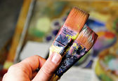 Artist paints still life in cubistic  — Photo