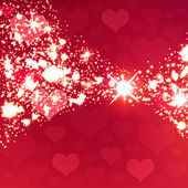 Shiny sparkling background, transparent falling hearts, Valentin — Stock Photo