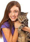 Happy Girl Holding Pet Cat — Stock Photo