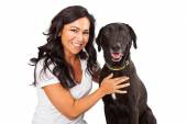 Pretty woman with Happy Dog — Stock Photo
