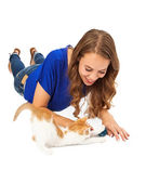 Young Adult Playing With Kitten — Stock Photo
