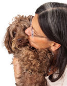 Woman Kissing Dog Companion — Stock Photo