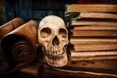 Books and skull — Stock Photo