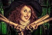 Halloween magician — Stock Photo