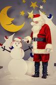 Snowmans santa — Stock Photo