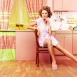 Sitting on kitchen — Stock Photo #58892059
