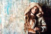 Girl in fur jacket — Stock Photo