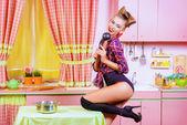 Housewife actress — Stock Photo