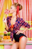 Lady and lollipop — Stock Photo