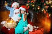 Siblings on christmas — Stock Photo