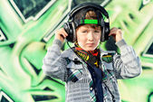 Boy and music — Stock Photo