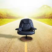 Office chair on the road  for leadership. Sometimes destined to — Stock Photo