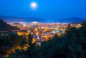 Full moon above the spa town of the Aegean Sea — Stock Photo