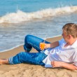 A young male enjoy your vacation on the island — Stock Photo #57019049